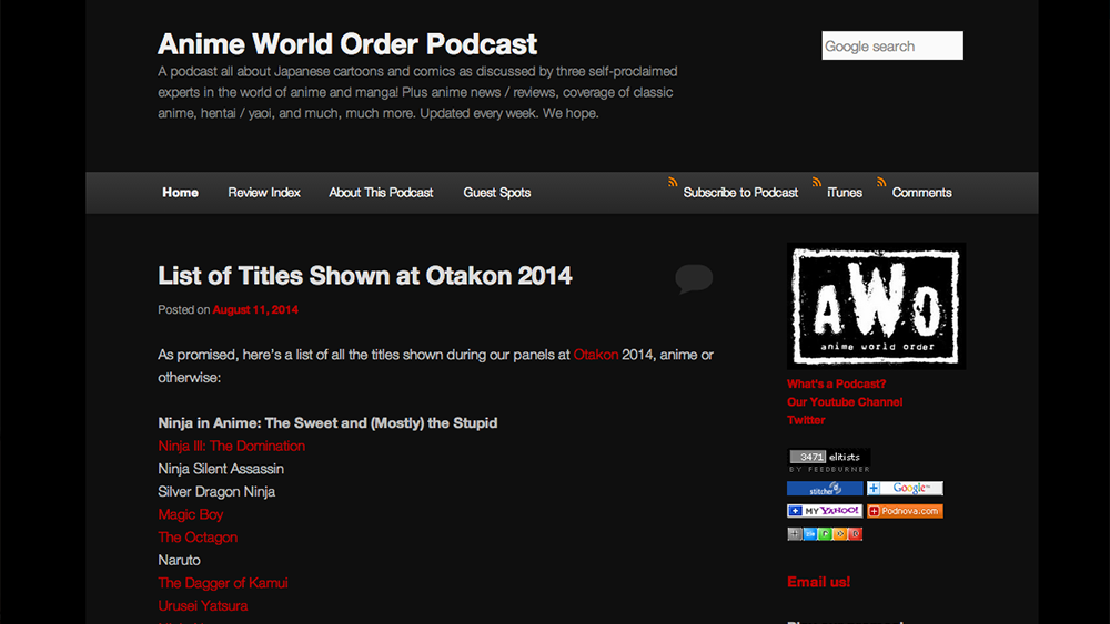 Anime World Order – Anime Podcast